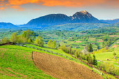 Alpine landscape and green fields,Holbav,Transylvania,Romania,Europe