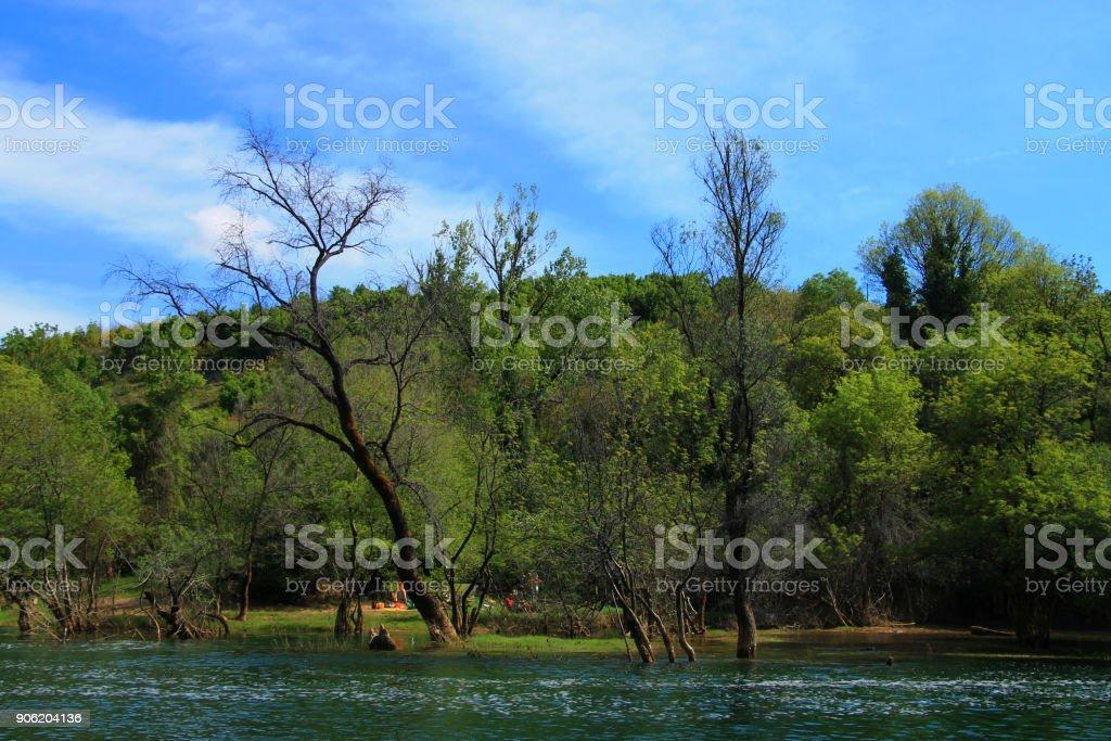 Spring landscape near Trebizat river , Bosnia and Herzegovina stock photo