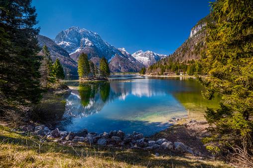 Lago del Predil a lake near Cave del Predil, part of the Tarvisio municipality in the Province of Udine, in the Italian region of Friuli-Venezia Giulia.