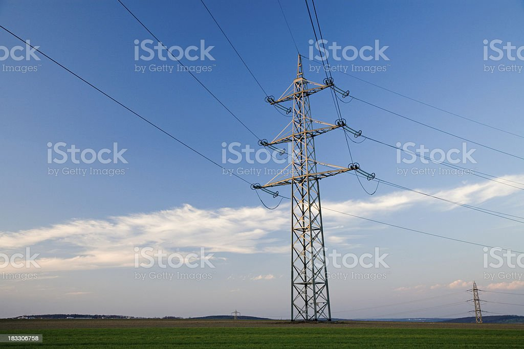 spring landscape power pole royalty-free stock photo