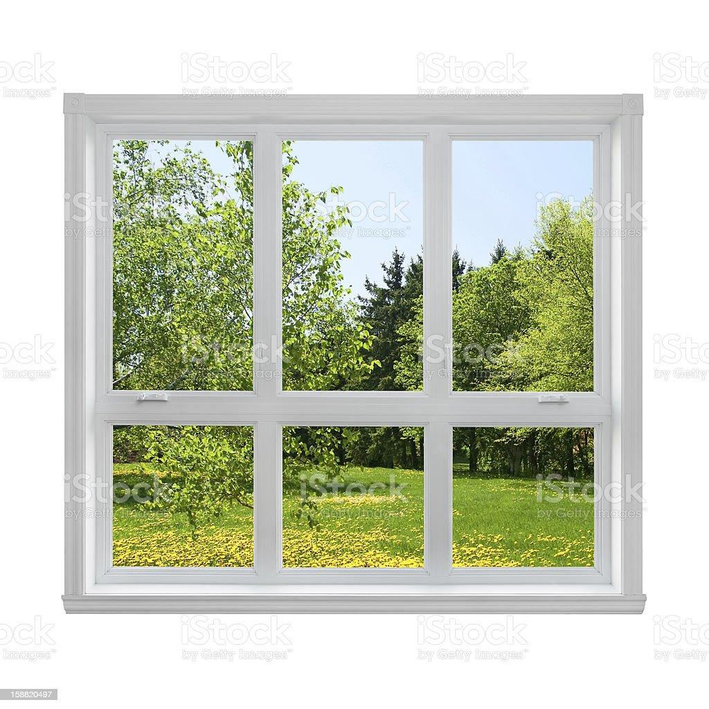Frühling Landschaft gesehen durch das Fenster – Foto