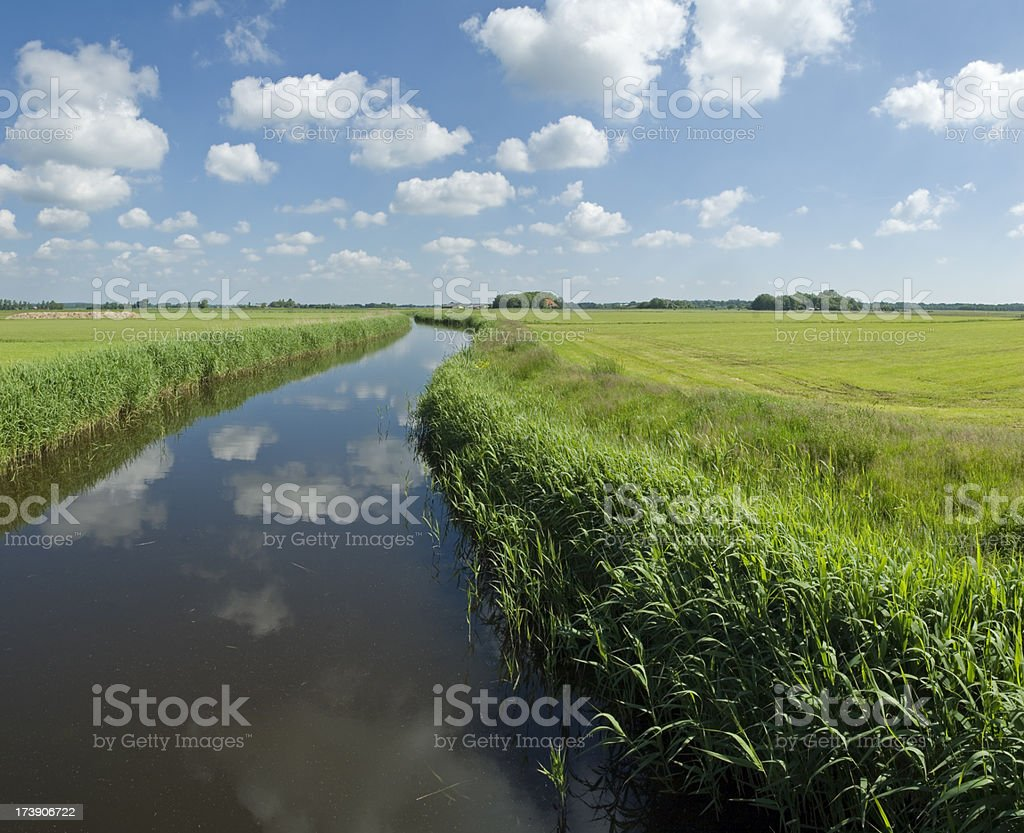 Spring Landscape with Curved Ditch royalty-free stock photo