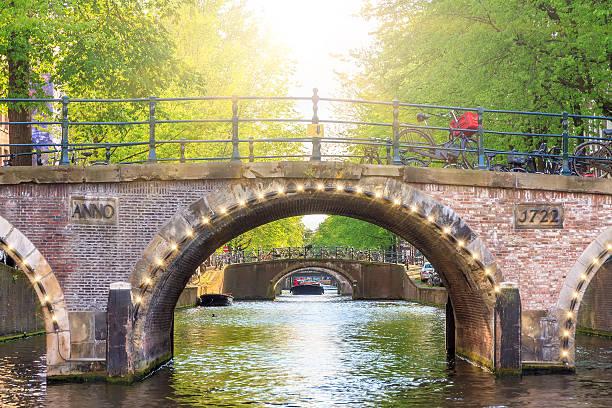 spring light bridge - keizersgracht stockfoto's en -beelden