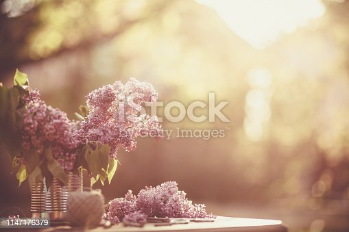 Branches of lilac stand in a can on wooden table outdoors in the garden.