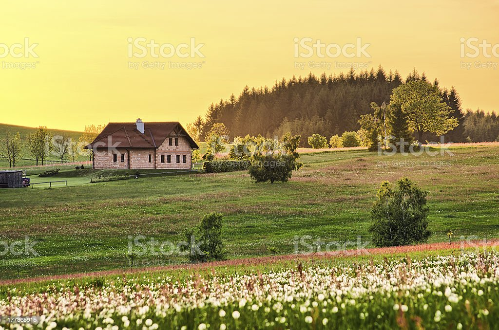 Spring meadow with cottage royalty-free stock photo