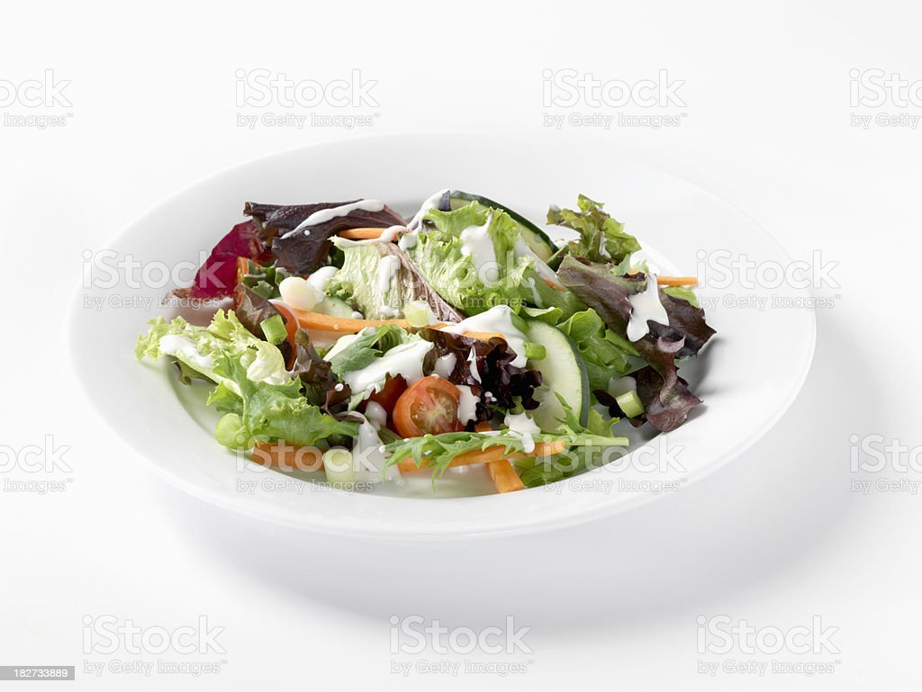 Spring Mix Salad with Ranch Dressing stock photo