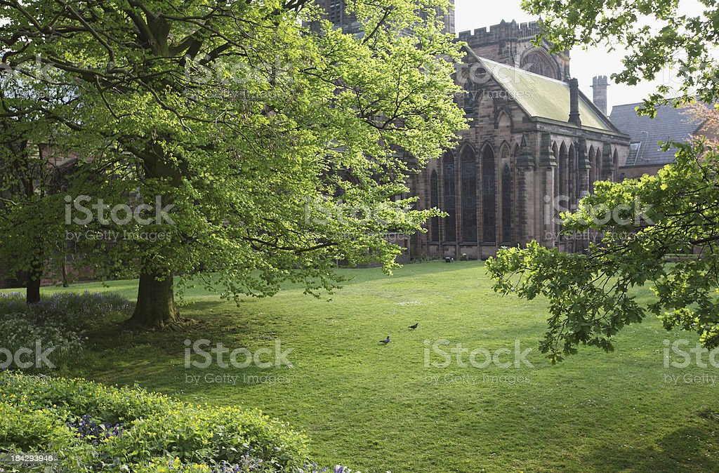 Spring morning at Chester Cathedral garden in England royalty-free stock photo