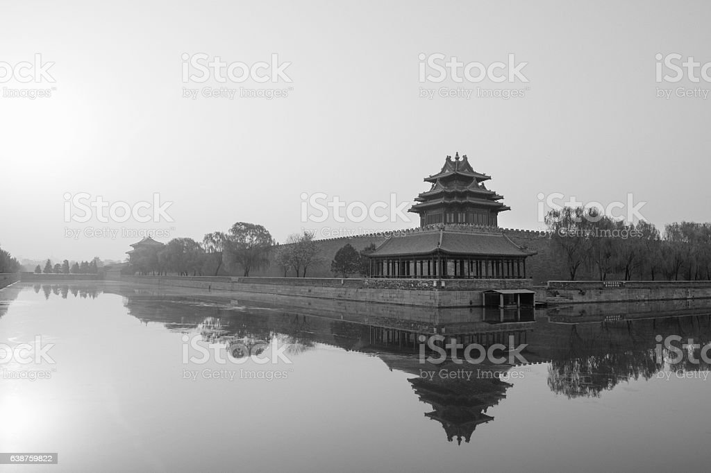 Spring morning at Forbidden City's North-West Corner Tower royalty-free stock photo