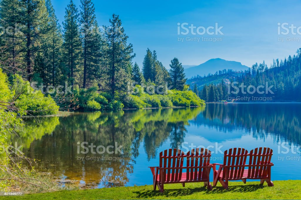 Spring morning at Hume Lake near Kings Canyon National Park, CA stock photo