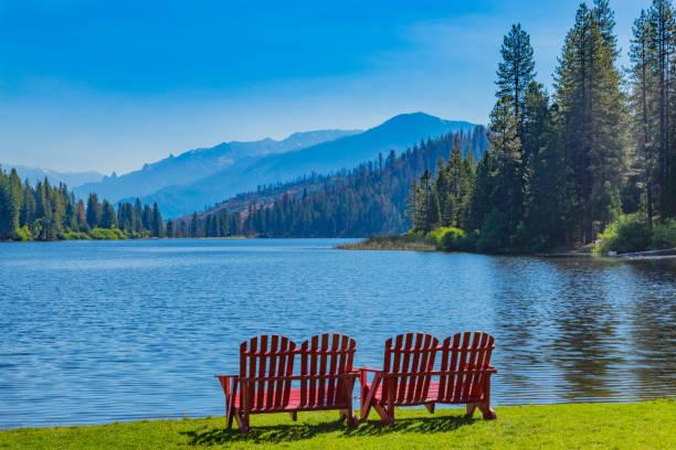 Spring morning at Hume Lake near Kings Canyon National Park, CA stock photo