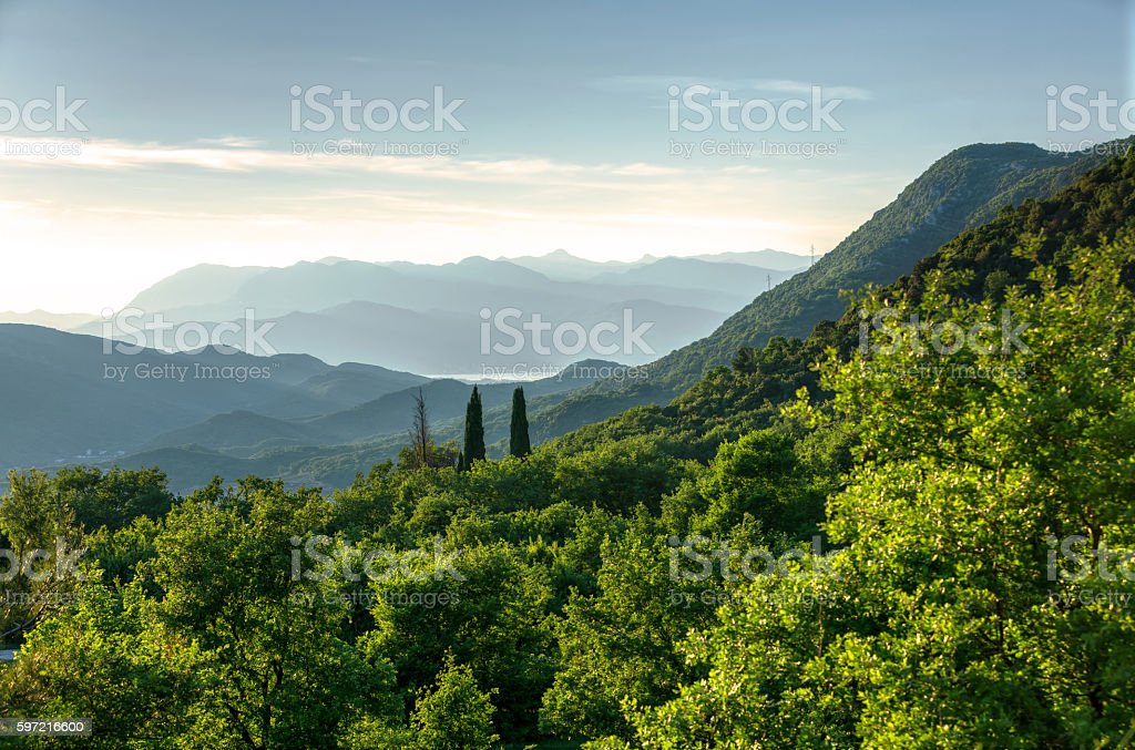 Spring morning in National Park Durmitor stock photo