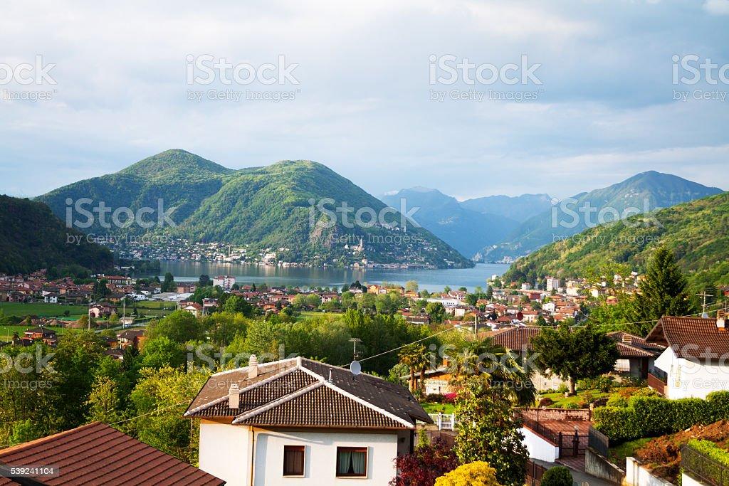 Spring morning panorama of lake Lugano royalty-free stock photo