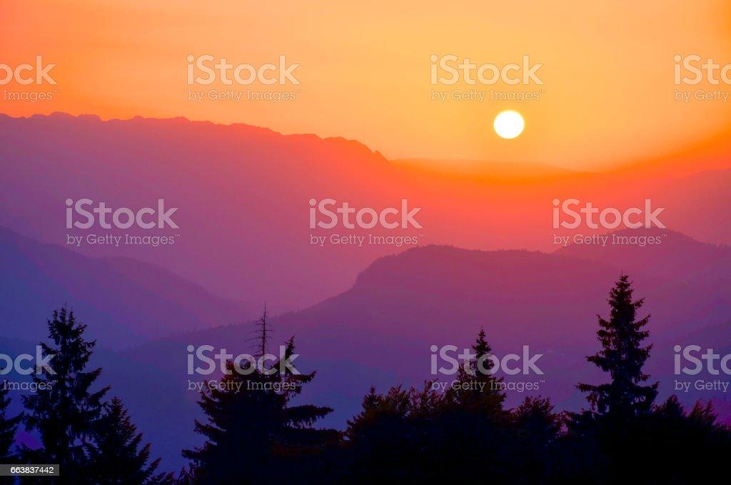 Frühling Bergwald und wunderschönen Sonnenuntergang – Foto
