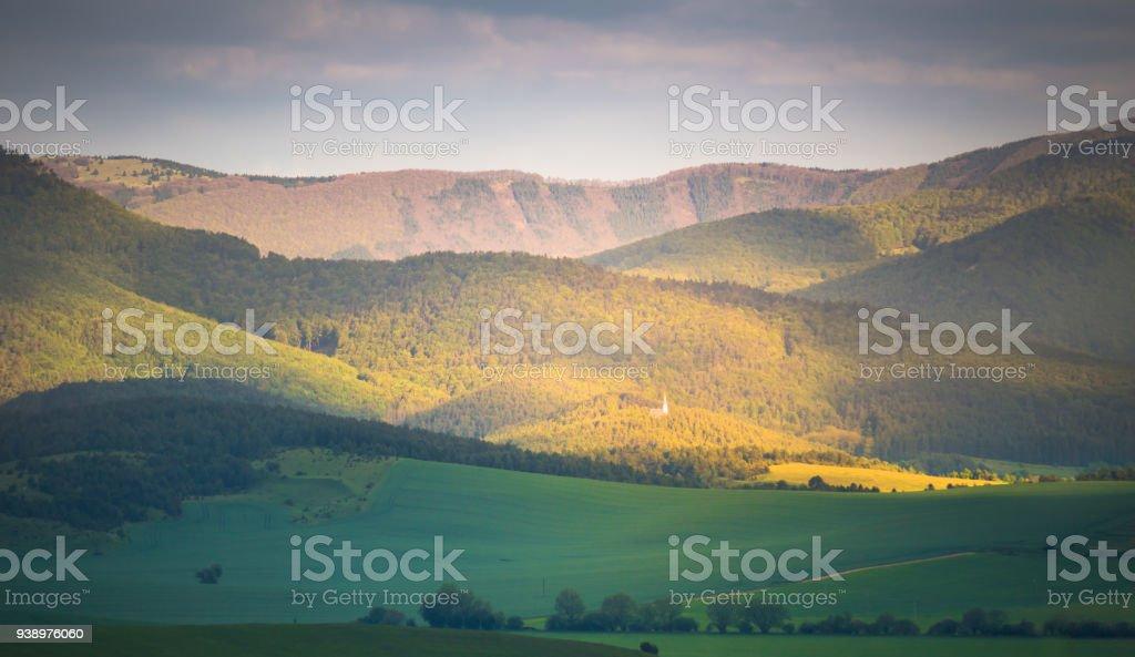 Spring mountain hills stock photo