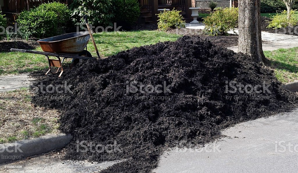 Spring Mulch at Reidential Curbside stock photo