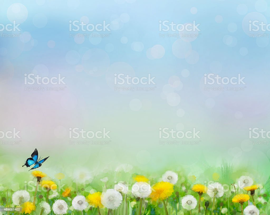 Spring nature background with dandelion fields stock photo