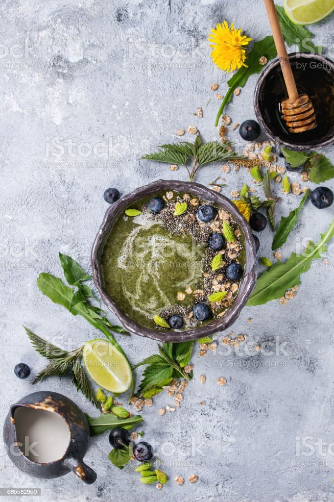 Spring nettle and dandelion smoothie 免版稅 stock photo
