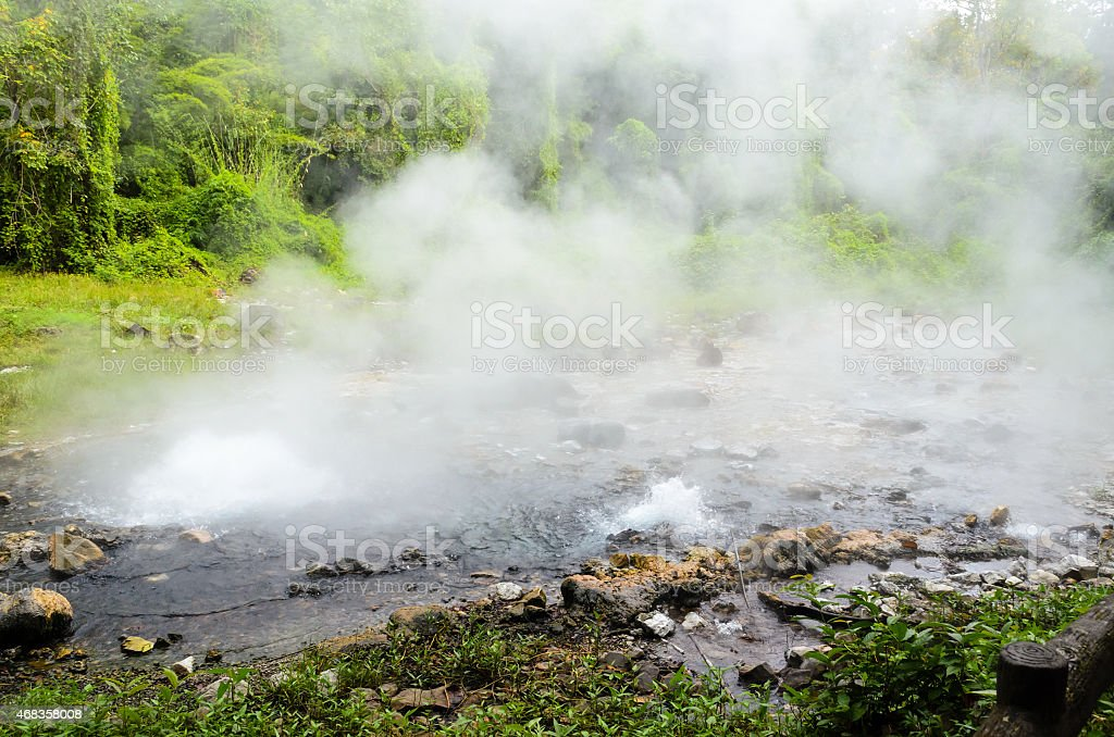 Spring of naturally hot water royalty-free stock photo