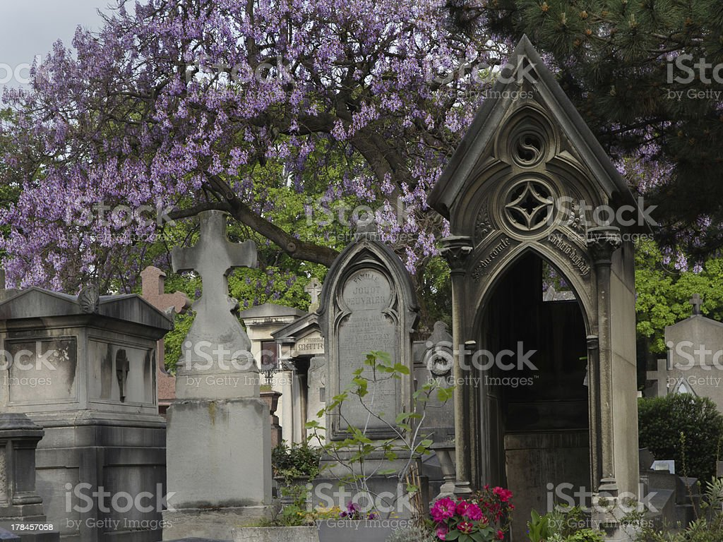 Spring on the cemetery Montparnasse in Paris royalty-free stock photo