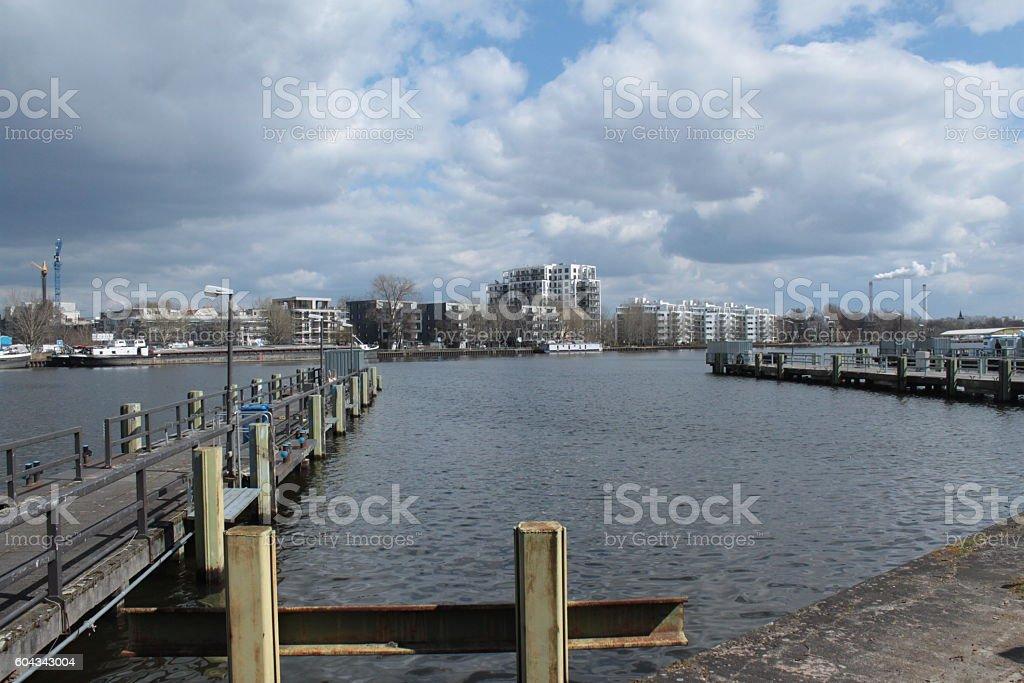 Frühling an der Spree im Treptower hafen stock photo