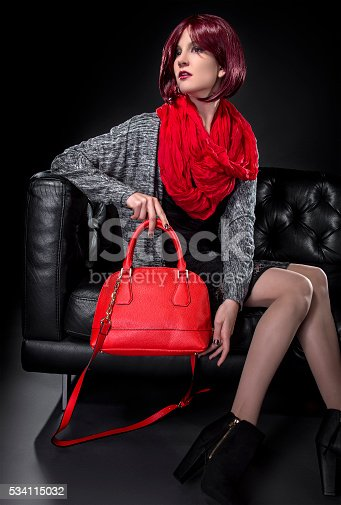 istock Spring or Fall Fashion and Red Bag 534115032