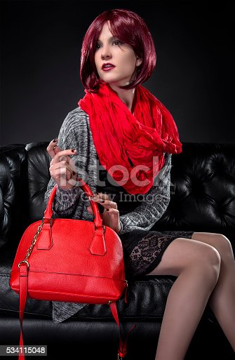 istock Spring or Fall Fashion and Red Bag 534115048