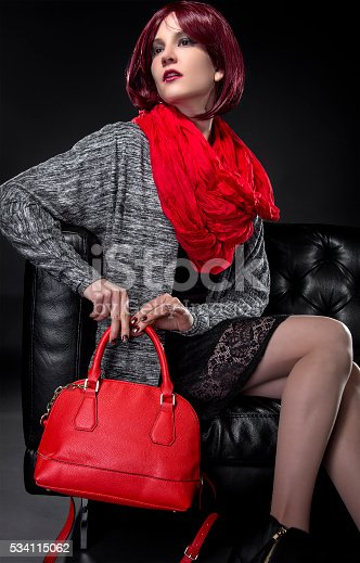 istock Spring or Fall Fashion and Red Bag 534115062