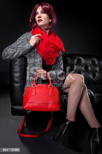 istock Spring or Fall Fashion and Red Bag 534115080