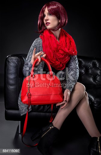 istock Spring or Fall Fashion and Red Bag 534115092