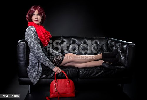 istock Spring or Fall Fashion and Red Bag 534115106