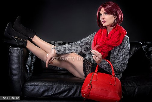 istock Spring or Fall Fashion and Red Bag 534115118