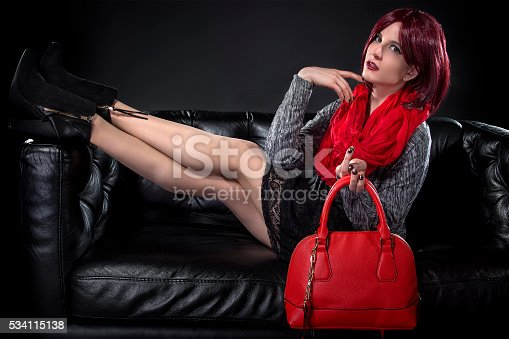 istock Spring or Fall Fashion and Red Bag 534115138