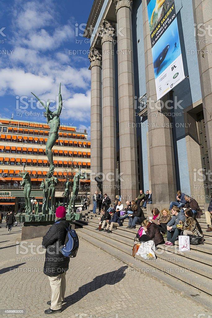 Spring outside Concert Hall Stockholm, Sweden stock photo