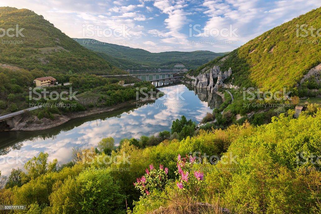 Spring over the rock phenomenon 'The Wonderful Rocks', Bulgaria stock photo