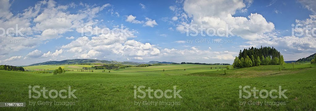 Spring panorama in the hills royalty-free stock photo