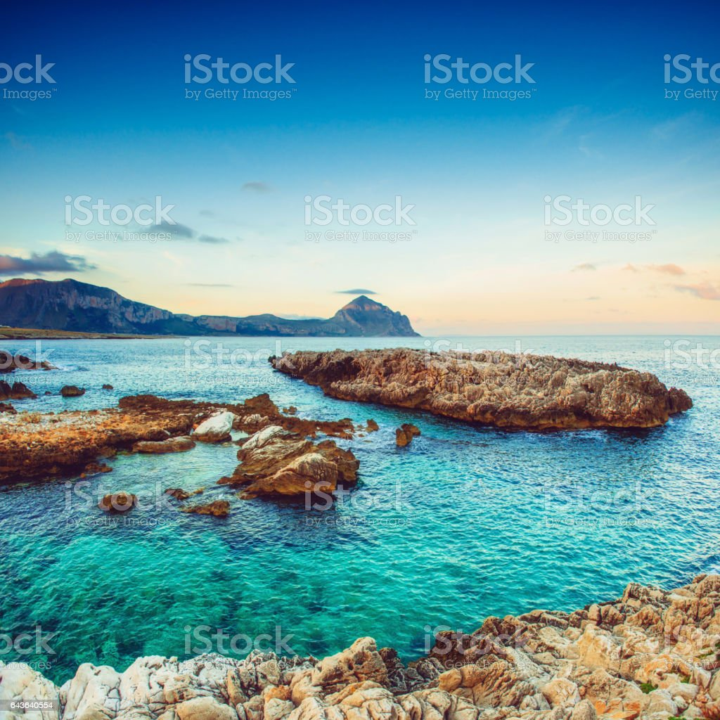 Spring panorama of sea coast city Trapany. Sicily, Italy, Europe stock photo