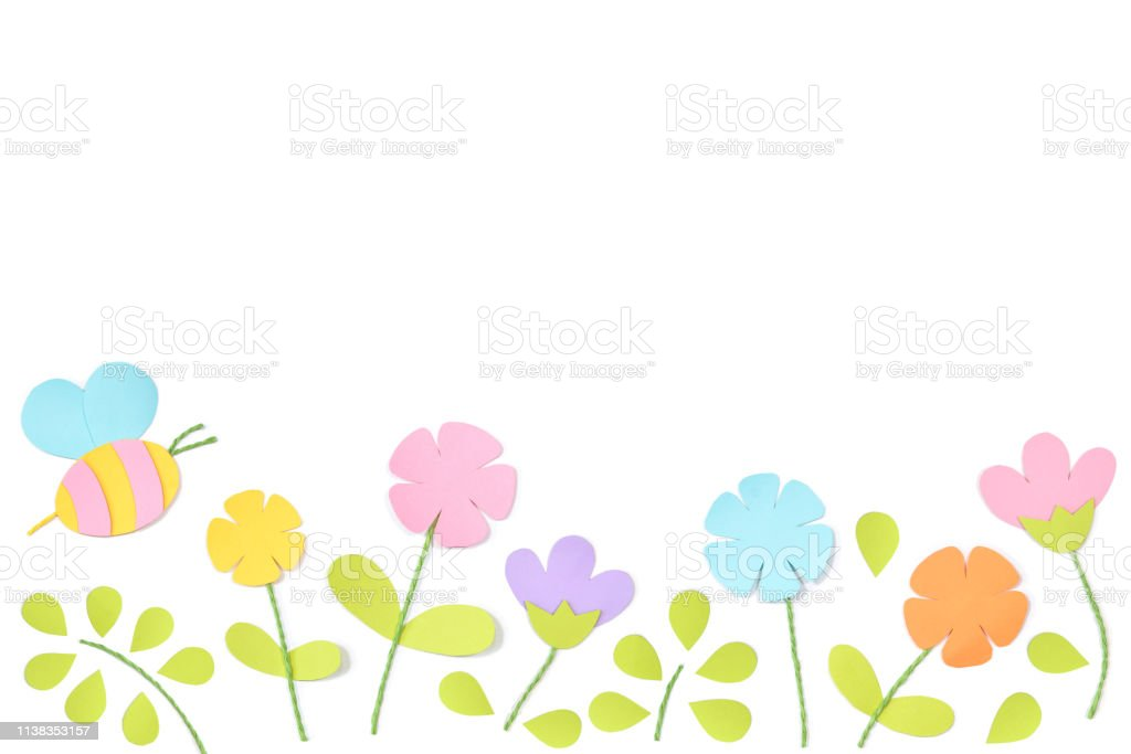 Spring paper cut on white background stock photo