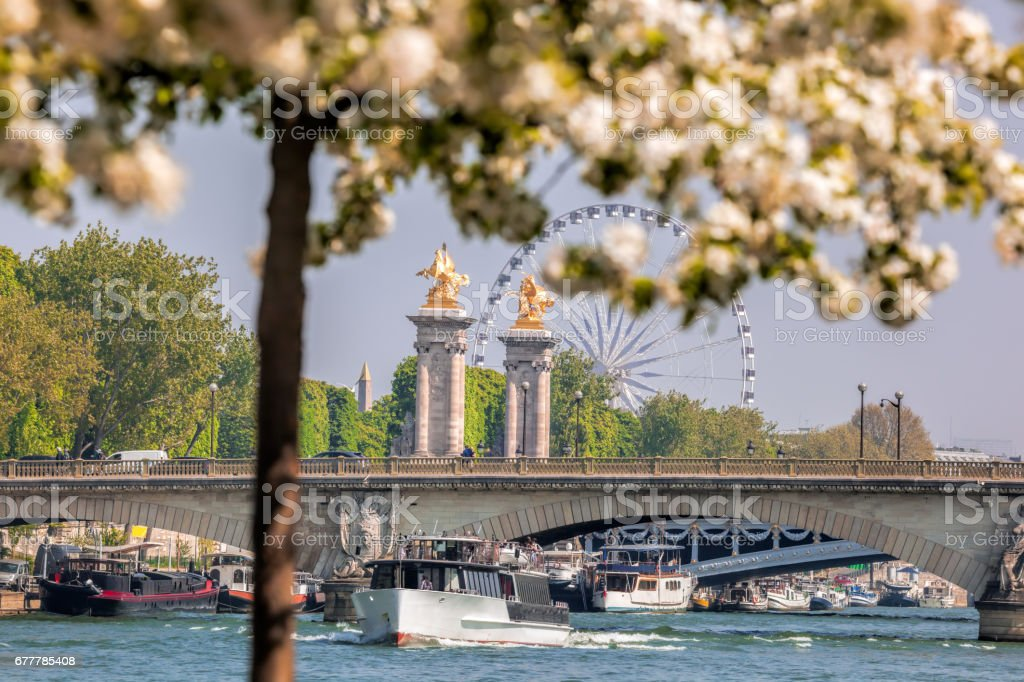 Spring Paris with boats on Seine in France royalty-free stock photo