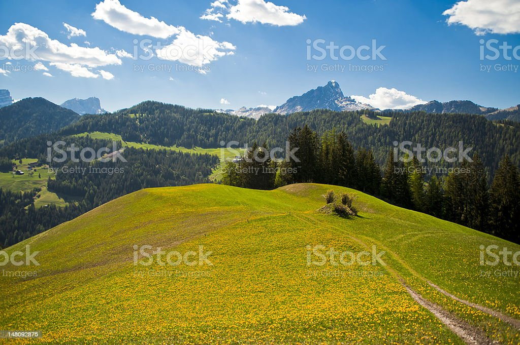 Spring pastures in Dolomite Mountains of northern Italy royalty-free stock photo