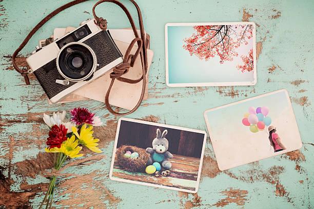 spring photo album - schöne osterbilder stock-fotos und bilder