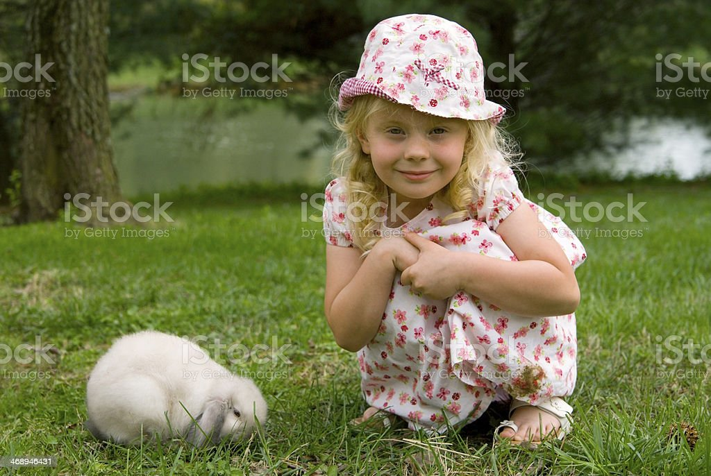 Spring play with bunny stock photo