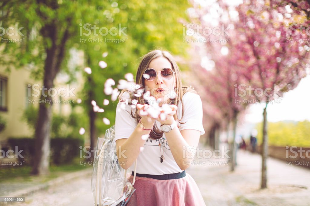 Spring portrait of a beautiful woman stock photo