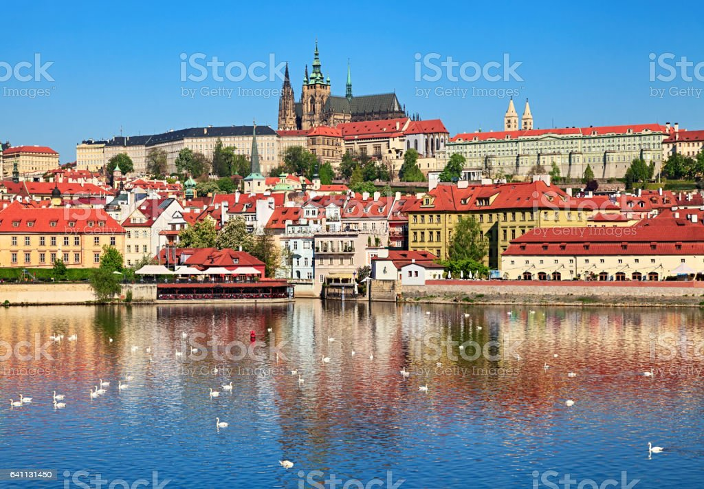 Spring Prague view stock photo