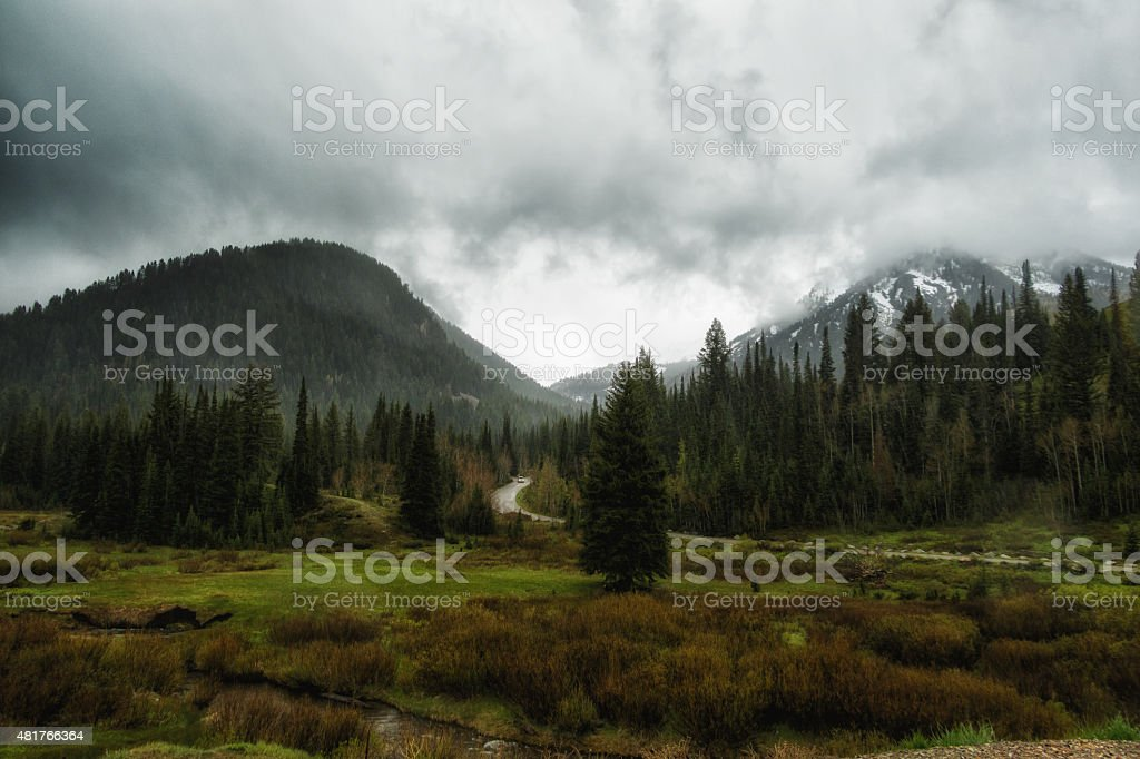 Spring Rain in the Wasatch stock photo