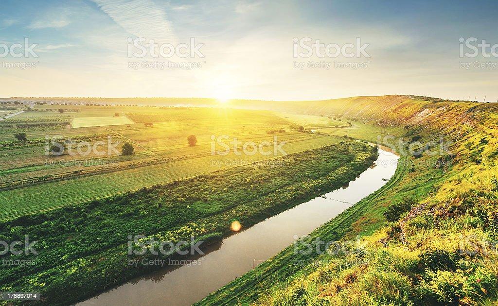 Spring river in the morning stock photo