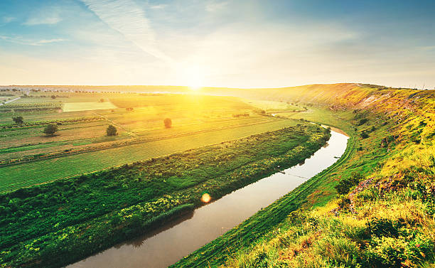 spring river in the morning - moldova stock pictures, royalty-free photos & images