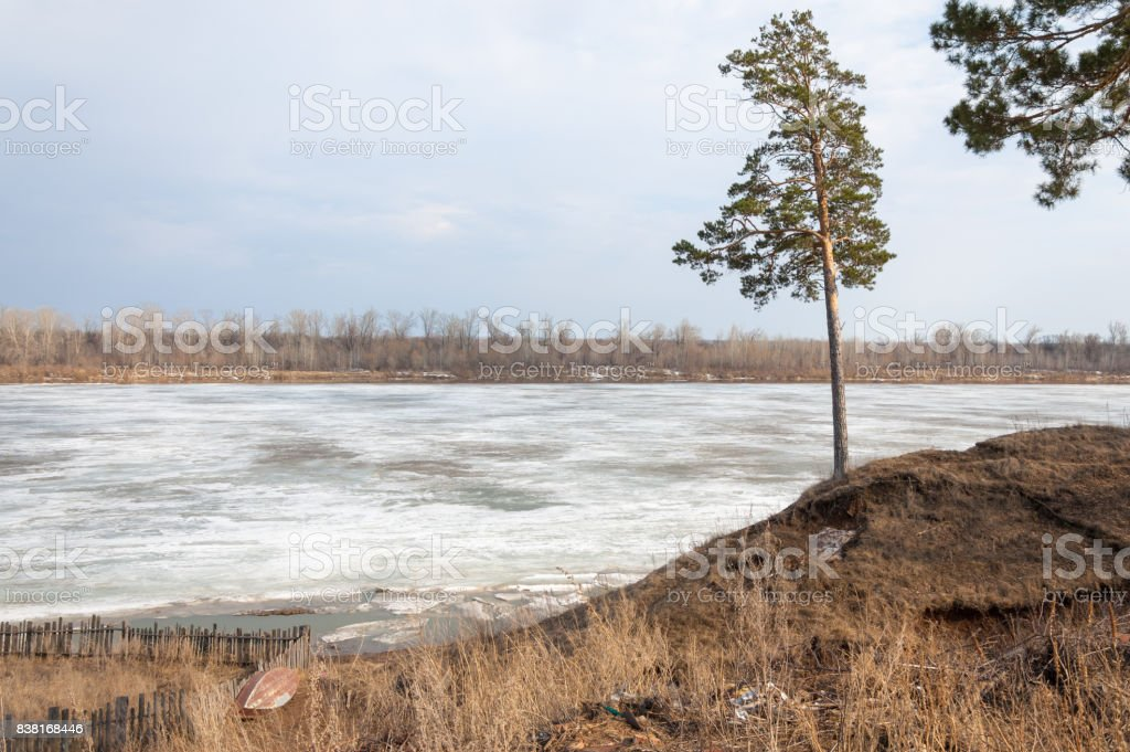 Spring River, the ice on the river. stock photo