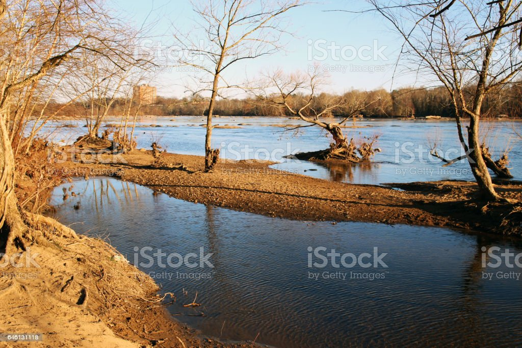 Spring riverbank landscape stock photo