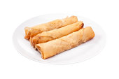 Spring rolls (Dim sum or Loempia) , isolated with clipping paths.