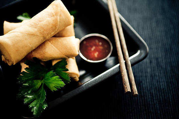 spring rolls - chinese food stock photos and pictures